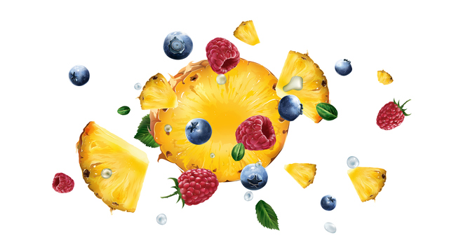 Raspberries, pineapple and blueberries flying on a white background.