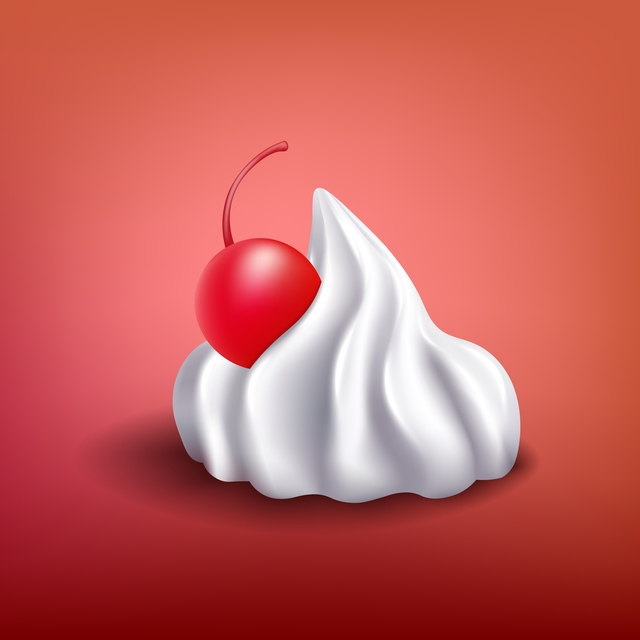 White whipped cream piece with red cherry - sweet dessert topping